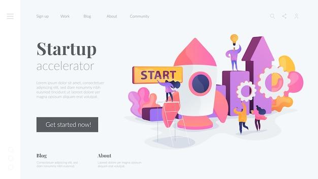 Startup accelerator-bestemmingspagina Gratis Vector