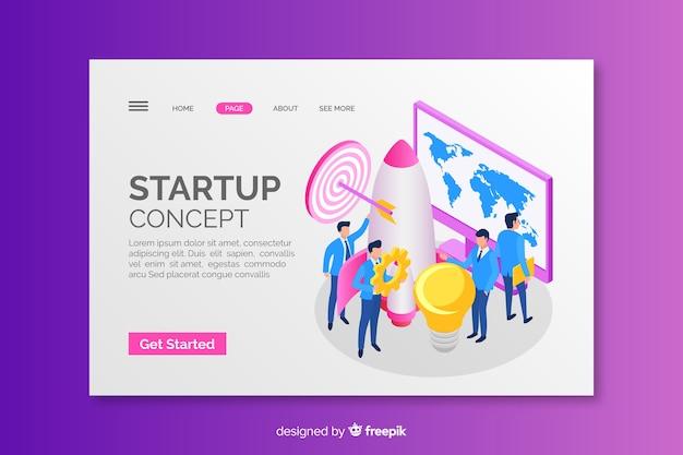Startup concept isometrische bestemmingspagina Gratis Vector