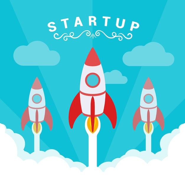 Startup illustratie. de raketten stijgen af tegen de blauwe lucht en witte rookwolken. Premium Vector