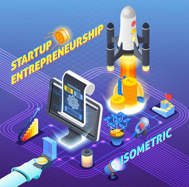 Startup ondernemerschap isometrische samenstelling Gratis Vector