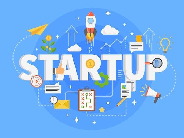 Startup ontwikkeling Gratis Vector