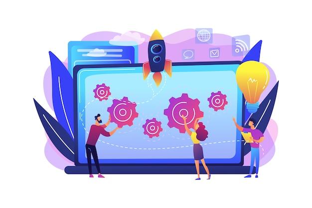 Startup-team krijgt begeleiding en training om de groei en laptop te versnellen. opstartversneller, zaadversneller, mentorconcept voor opstarten. heldere levendige violet geïsoleerde illustratie Gratis Vector