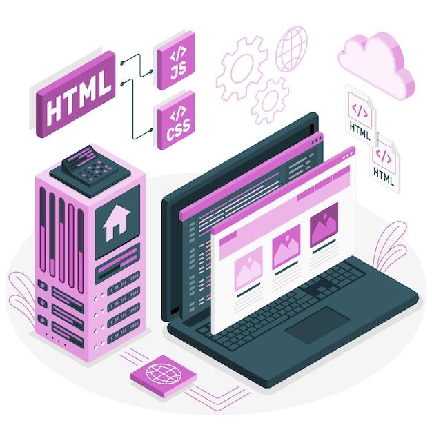 Statische website concept illustratie Gratis Vector
