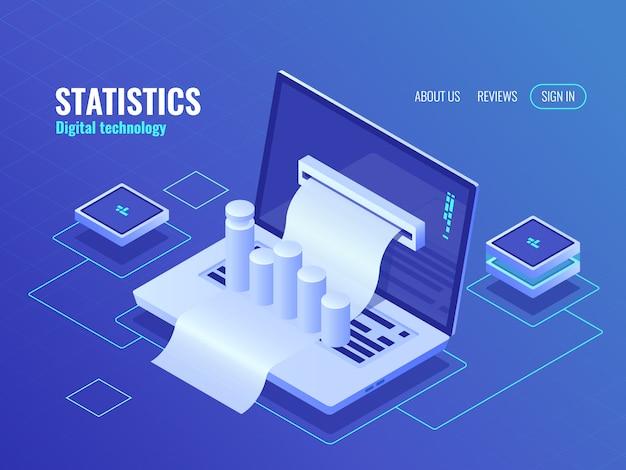 Statistiek- en analyseconcept, gegevensverwerkingsresultaat, economisch rapport, elektronenrekening Gratis Vector