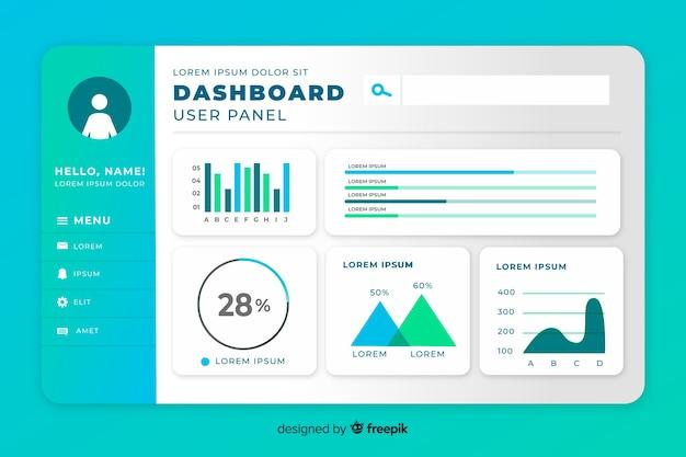 Statistiek set elementen dashboard sjabloon Gratis Vector