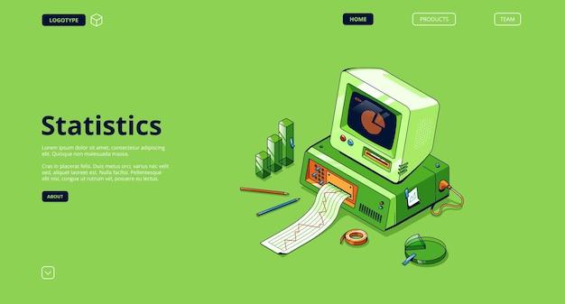 Statistieken banner. dienst voor data-analyse en onderzoek, statistische informatie. Gratis Vector