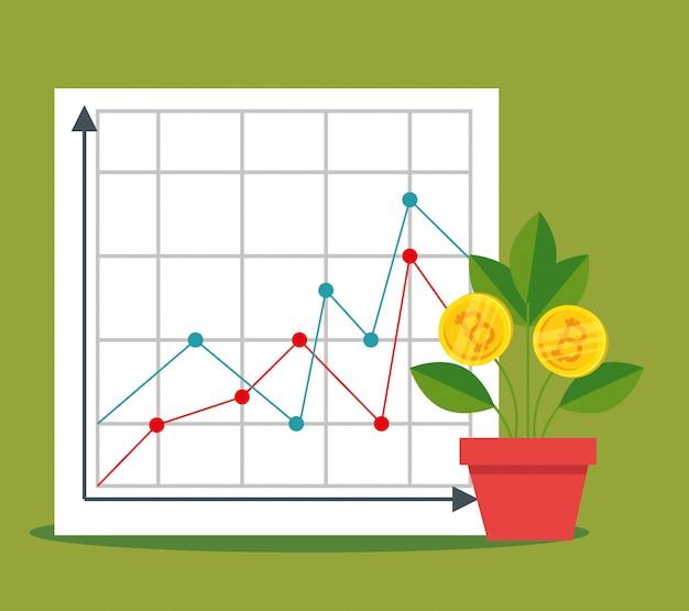 Statistieken diagram en plant met bitcoin valuta Gratis Vector