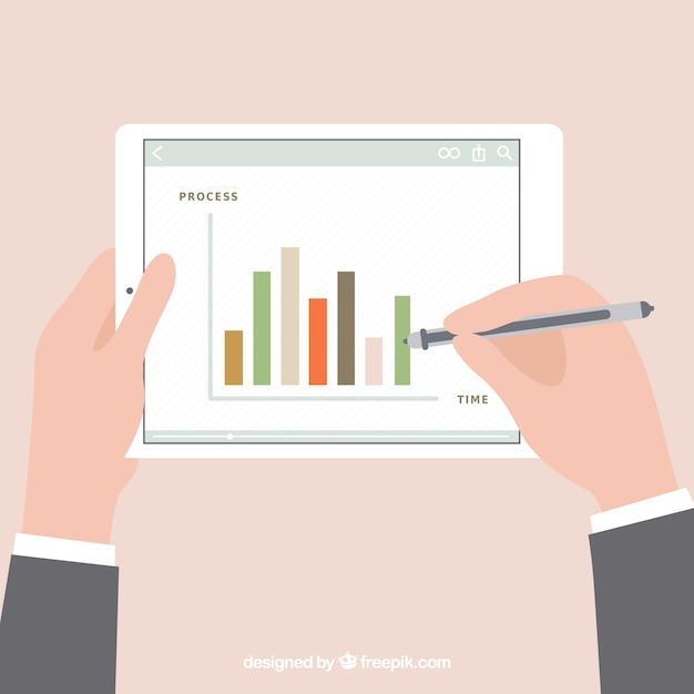 Statistieken diagram op tablet Gratis Vector