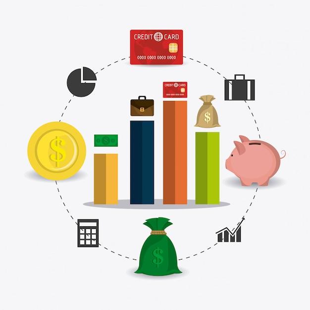 Statistieken over zakelijke groei en geldbesparingen Gratis Vector