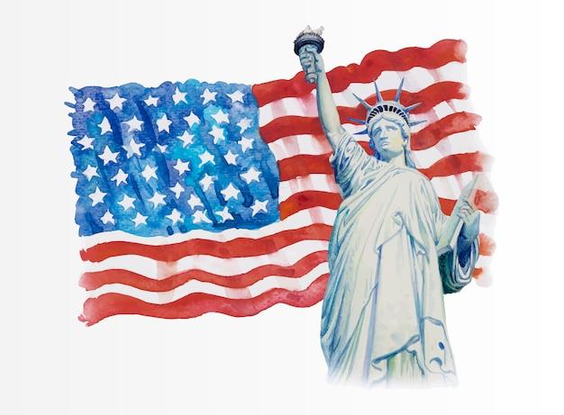 Statue liberty op amerikaanse vlag Premium Vector