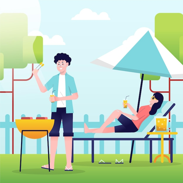 Staycation concept Gratis Vector