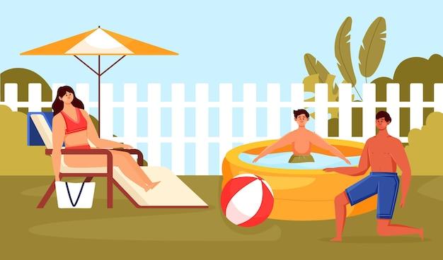 Staycation in de achtertuin Gratis Vector
