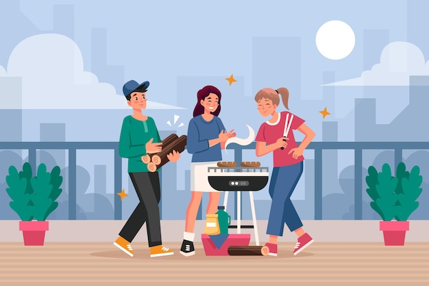 Staycation op een dakterras Gratis Vector