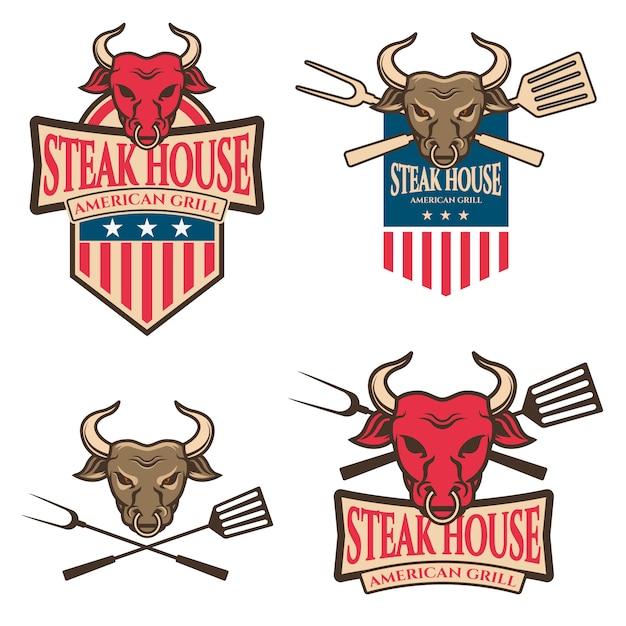 Steak house labels Premium Vector