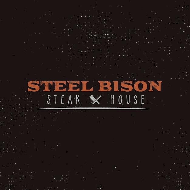 Steak house vintage label. typografie boekdruk. Premium Vector