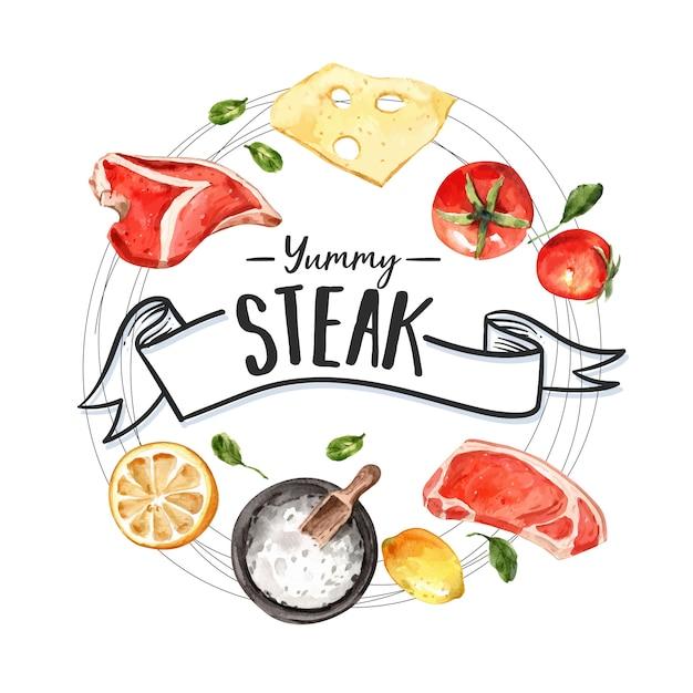 Steak krans ontwerp met vlees, tomaat, citroen aquarel illustratie Gratis Vector