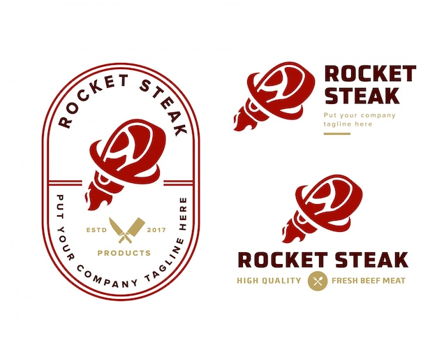 Steak winkel logo sjabloon Premium Vector