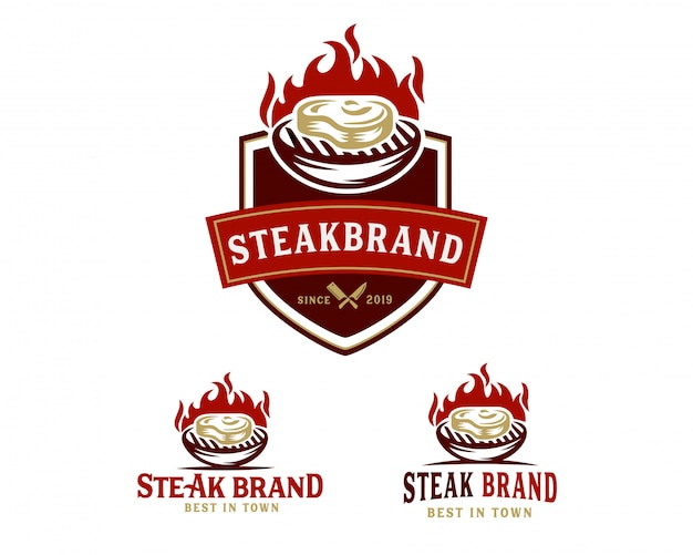 Steak winkel logo sjabloon Premium Vector