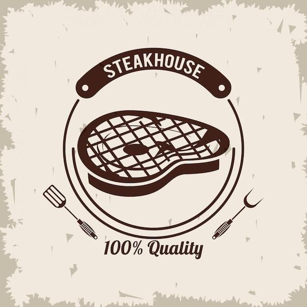 Steakhouse bbq-poster Premium Vector