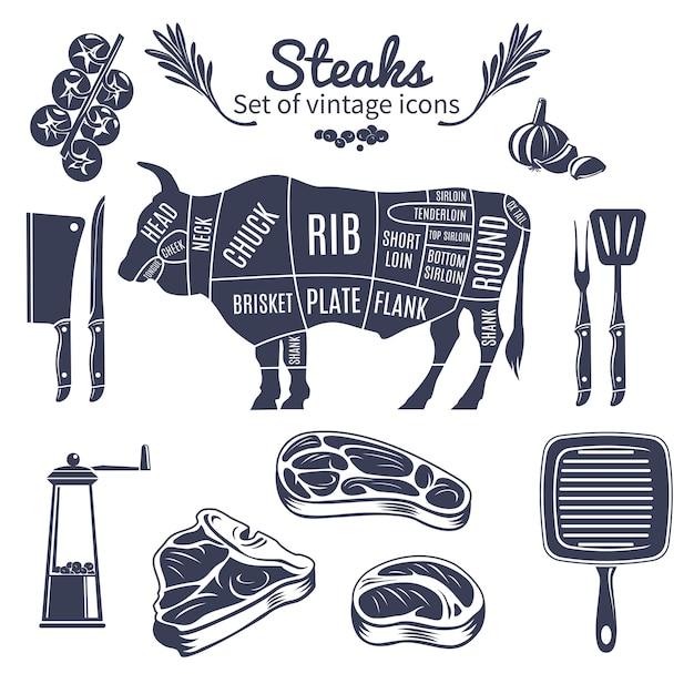 Steaks vintage stijlenset Gratis Vector