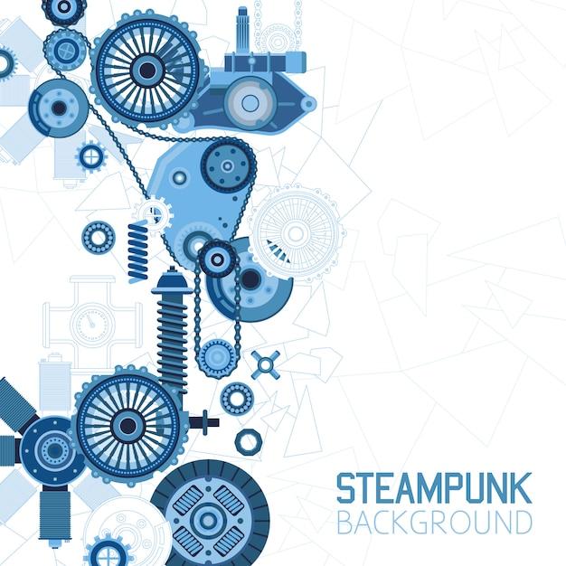 Steampunk futuristische achtergrond Gratis Vector