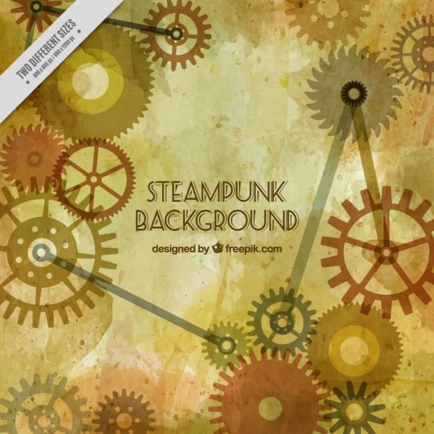 Steampunk gears achtergrond Gratis Vector