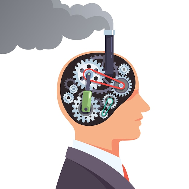 Steampunk hersenen motor met tandwielen en tandwielen Gratis Vector