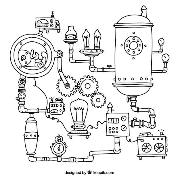 Steampunk machinery achtergrond Gratis Vector