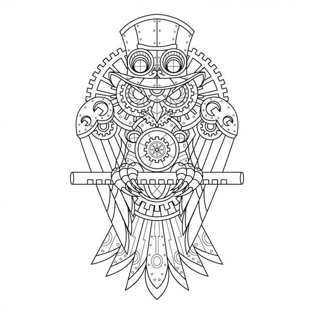 Steampunk owl illustratie in lineaire stijl Premium Vector