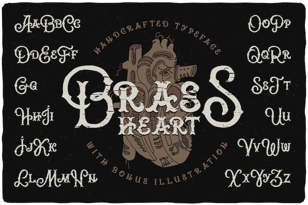 Steampunk stijl lettertype ingesteld met hart tekenen Gratis Vector