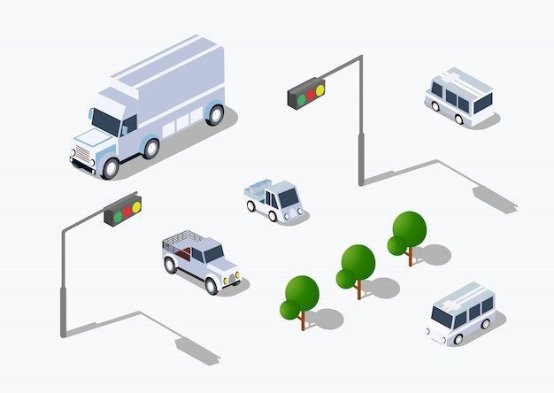 Stedelijk isometrisch parkeren Premium Vector