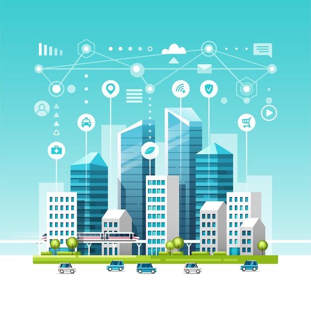 Stedelijk landschap met gebouwen, wolkenkrabbers en transportverkeer. concept van slimme stad met verschillende pictogrammen. Premium Vector