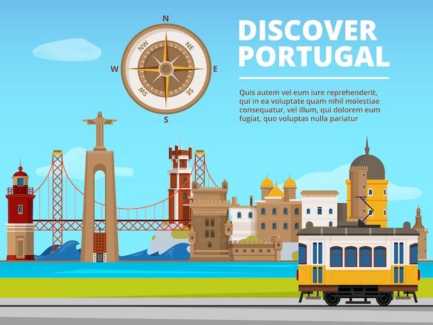 Stedelijk landschap van lissabon portugal. Premium Vector