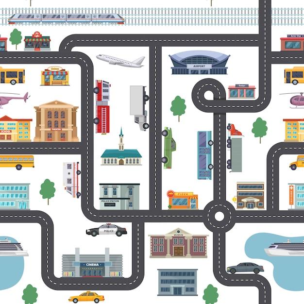 Stedelijk landschapspatroon met verschillende winkels, gebouwen, kantoren en transport Premium Vector