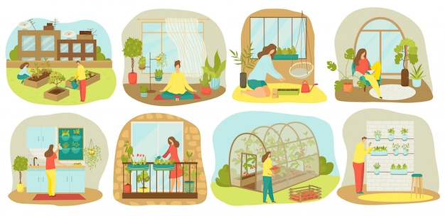 Stedelijk tuinieren, planten en groenten of landbouw set van illustraties. tuinbeplanting op balkon, in keuken, houten zaaibedden, verticale landbouw en dakteelt en hydrocultuur, stadstuin. Premium Vector