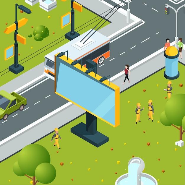 Stedelijke billboards isometrisch. stad met lege plaatsen voor reclame op borden led-panelen lichtbakken straatlandschap Premium Vector
