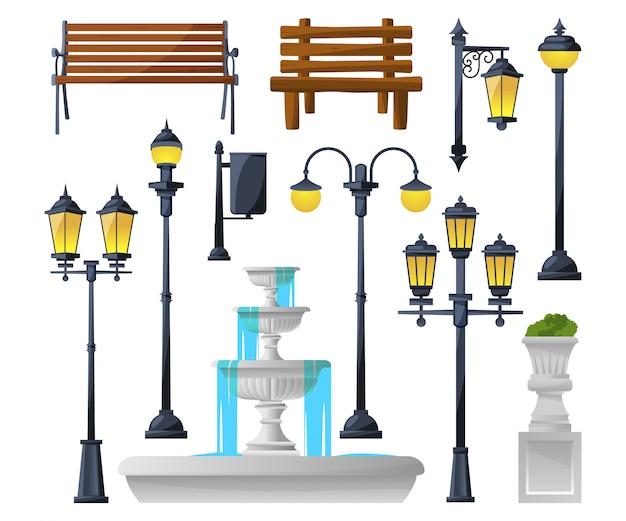 Stedelijke elementen instellen. straatlantaarns, fontein, parkbanken en prullenbakken. Premium Vector