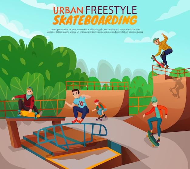 Stedelijke freestyle skateboarden illustratie Gratis Vector
