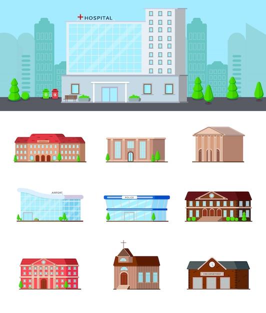 Stedelijke gebouwen icon set Gratis Vector