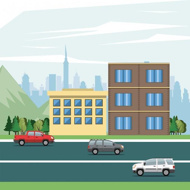 Stedelijke gebouwen met stadslandschap Gratis Vector