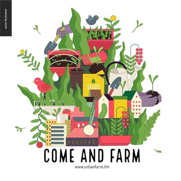Stedelijke landbouw en tuinieren collage Premium Vector