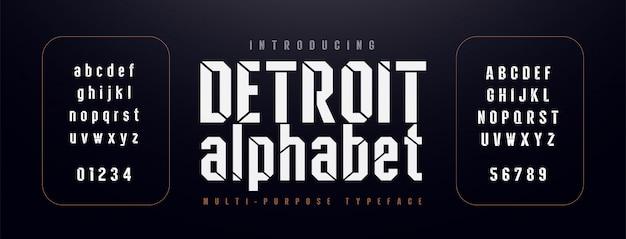 Stedelijke moderne alfabet lettertype. typografie gecondenseerd Premium Vector