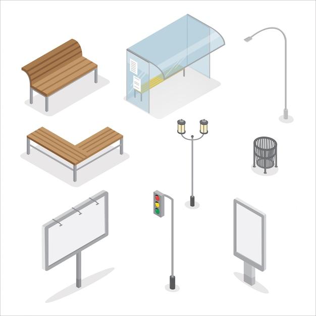 Stedelijke objecten. stoplicht. city bench. bushalte. straatlantaarn. reclamebord. prullenbak. stad licht. Premium Vector