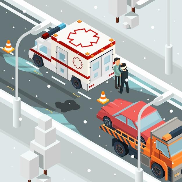 Stedelijke ongevalongevallen. de winterwaarschuwing op isometrisch het wrak automobiel landschap van de wegmisstap Premium Vector