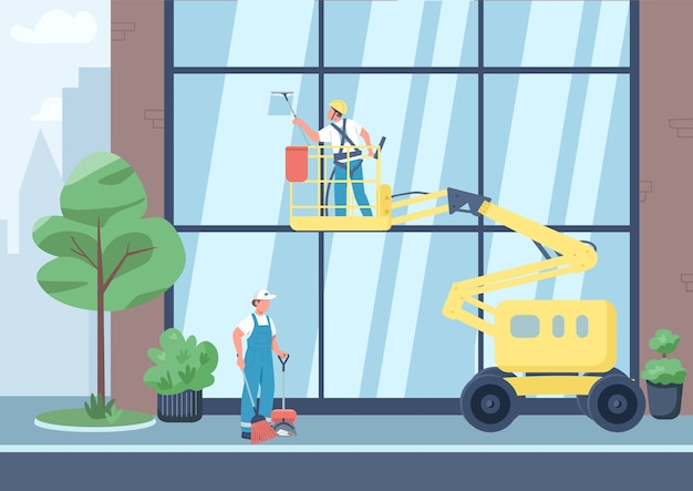 Stedelijke schoonmaak egale kleur. schoonmakers team 2d stripfiguren met stad op achtergrond. commerciële schoonmaakdienst. ramen schoonmaken en straatvegen Premium Vector