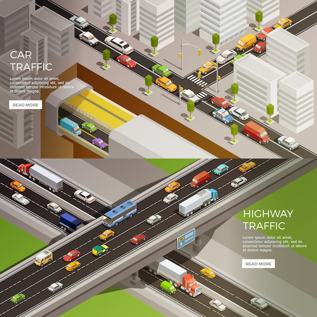Stedelijke snelweg banners set Gratis Vector