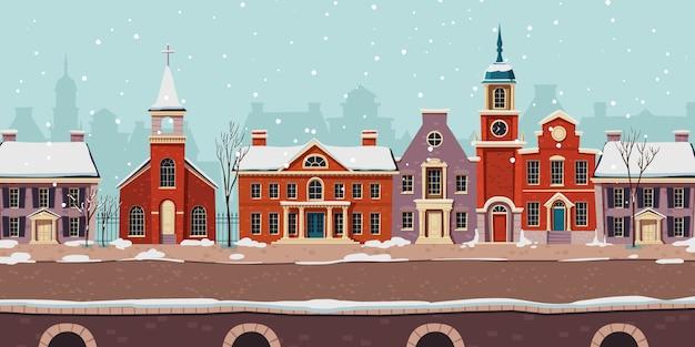 Stedelijke straat winterlandschap, koloniale gebouwen Gratis Vector