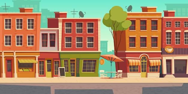 Stedelijke straatillustratie met klein winkel en restaurant Gratis Vector