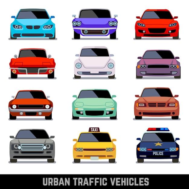 Stedelijke verkeersvoertuigen Premium Vector