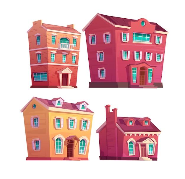 Stedelijke victoriaanse gebouwen Gratis Vector
